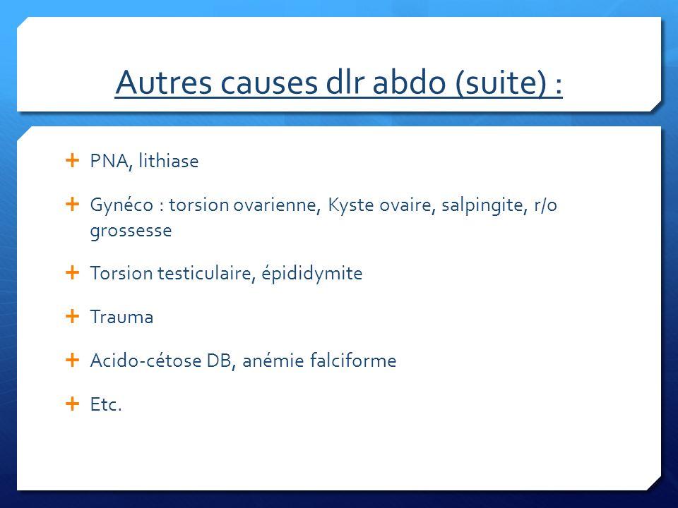 Autres causes dlr abdo (suite) : PNA, lithiase Gynéco : torsion ovarienne, Kyste ovaire, salpingite, r/o grossesse Torsion testiculaire, épididymite T