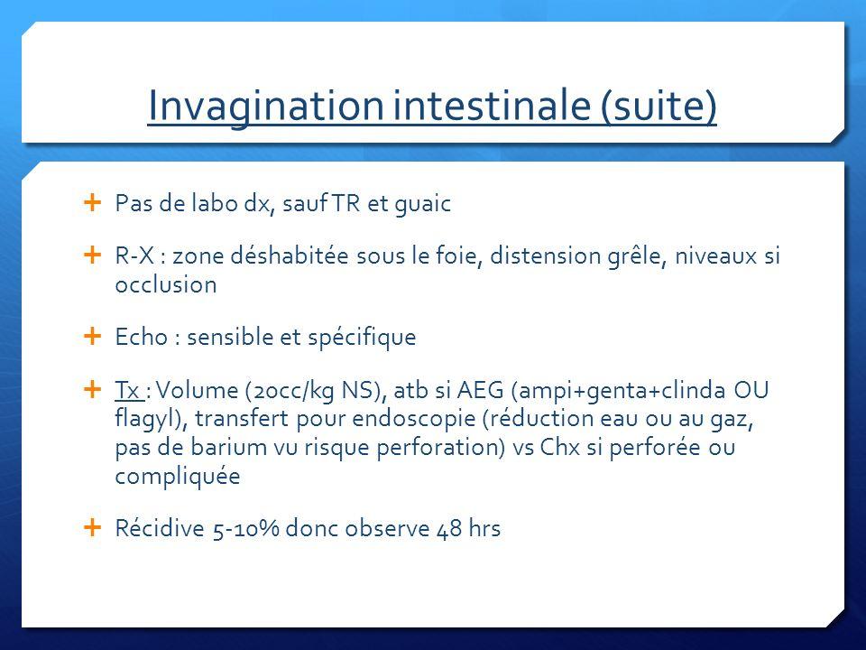 Invagination intestinale (suite) Pas de labo dx, sauf TR et guaic R-X : zone déshabitée sous le foie, distension grêle, niveaux si occlusion Echo : se