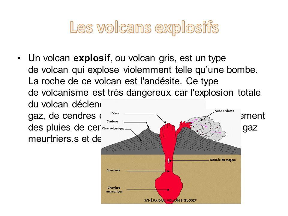 Un volcan explosif, ou volcan gris, est un type de volcan qui explose violemment telle quune bombe. La roche de ce volcan est l'andésite. Ce type de v
