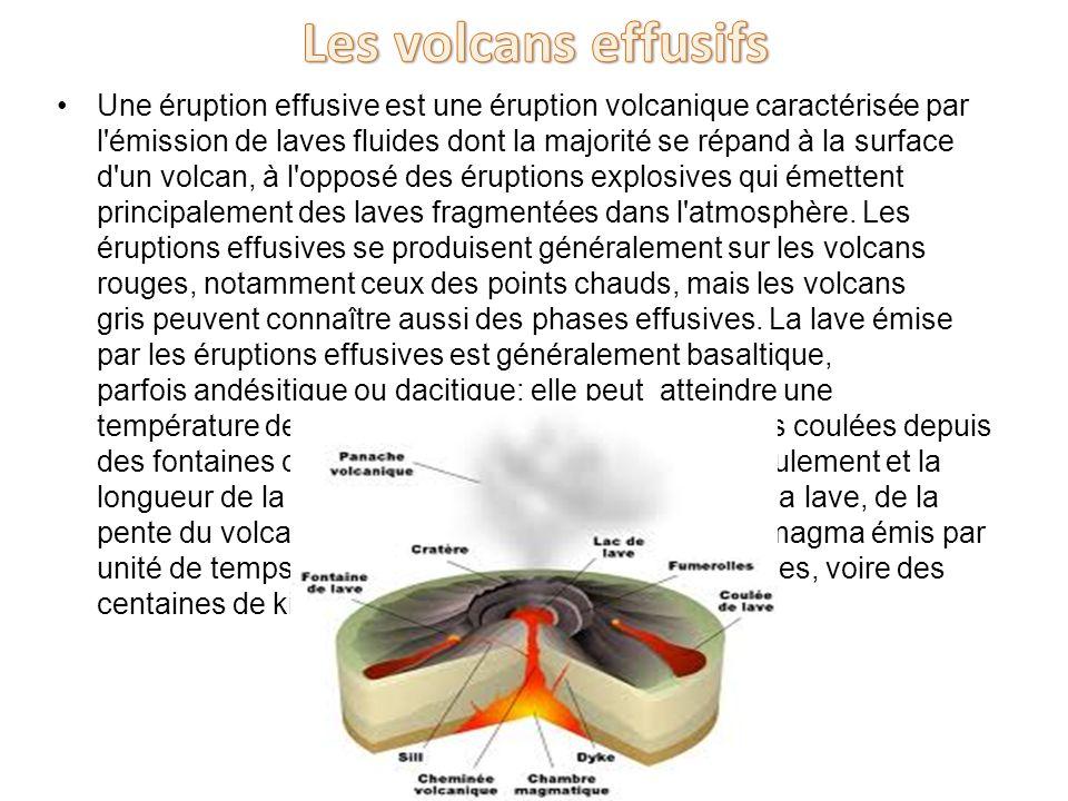 Une éruption effusive est une éruption volcanique caractérisée par l'émission de laves fluides dont la majorité se répand à la surface d'un volcan, à