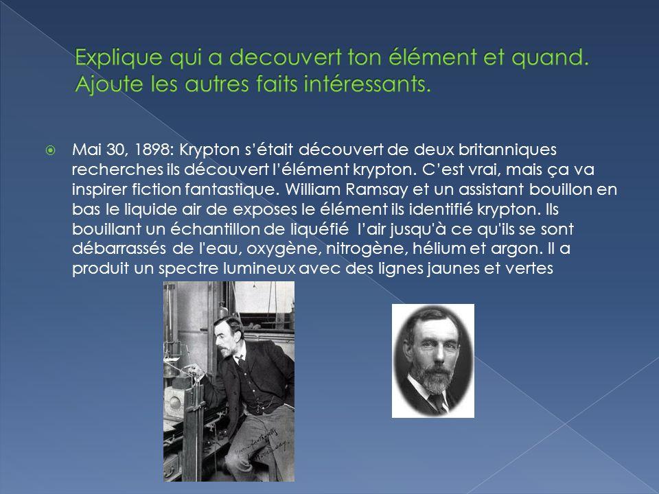 Mai 30, 1898: Krypton sétait découvert de deux britanniques recherches ils découvert lélément krypton.
