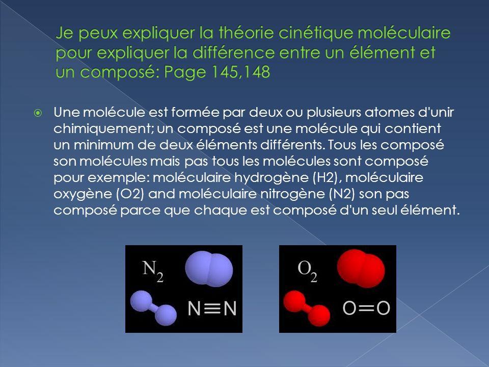 Une molécule est formée par deux ou plusieurs atomes d unir chimiquement; un composé est une molécule qui contient un minimum de deux éléments différents.