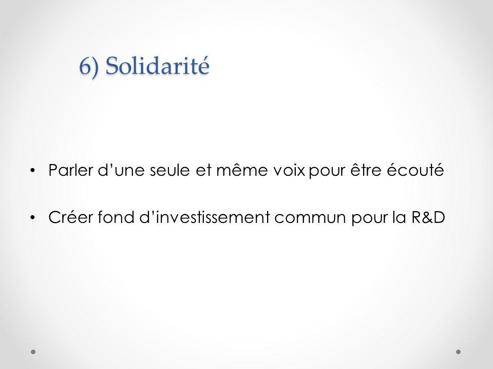 6) Solidarité Parler dune seule et même voix pour être écouté Créer fond dinvestissement commun pour la R&D