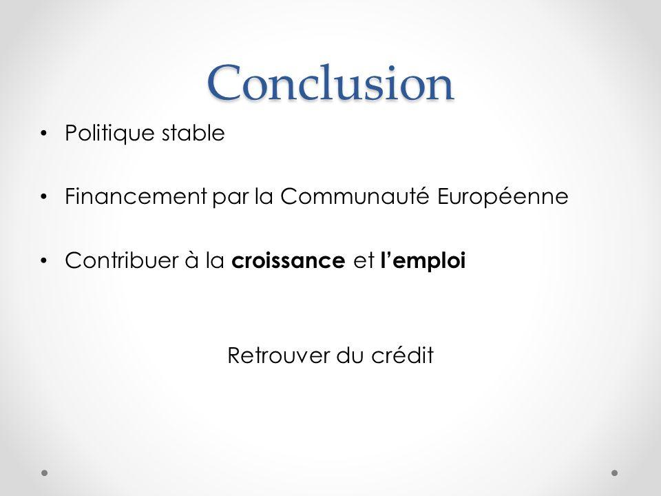 Conclusion Politique stable Financement par la Communauté Européenne Contribuer à la croissance et lemploi Retrouver du crédit