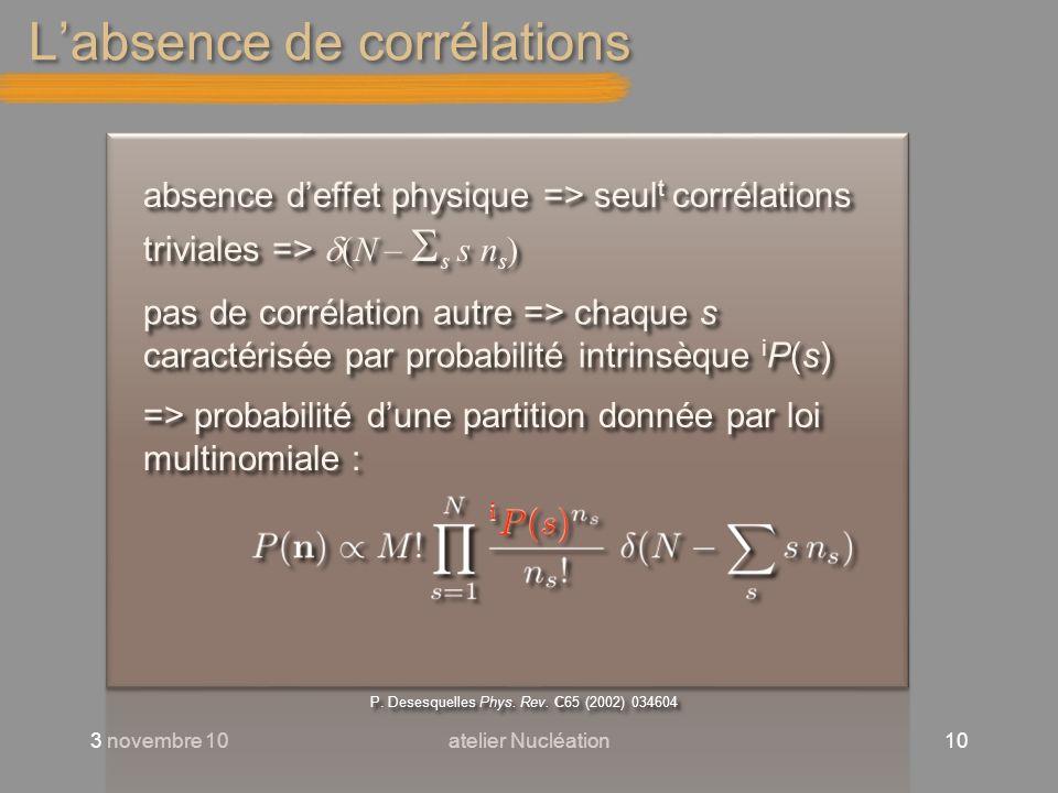 Labsence de corrélations 3 novembre 10atelier Nucléation10 absence deffet physique => seul t corrélations triviales => (N – s s n s ) pas de corrélati
