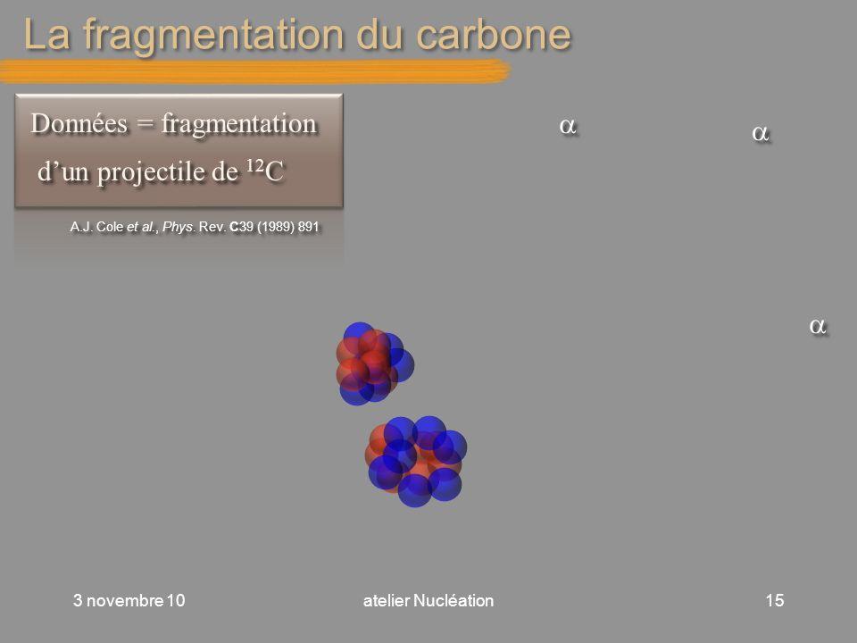 La fragmentation du carbone 3 novembre 10atelier Nucléation15 Données = fragmentation dun projectile de 12 C Données = fragmentation dun projectile de