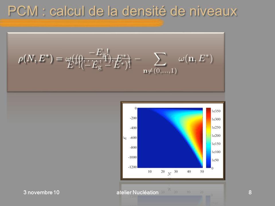 PCM : calcul de la densité de niveaux 3 novembre 10atelier Nucléation8