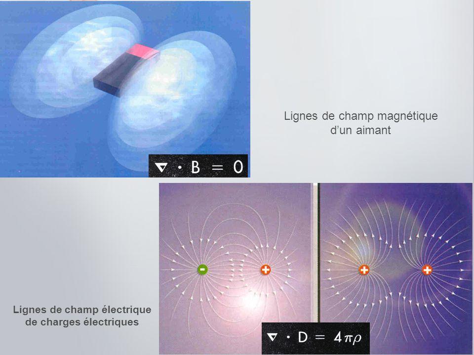 Lignes de champ magnétique dun aimant Lignes de champ électrique de charges électriques