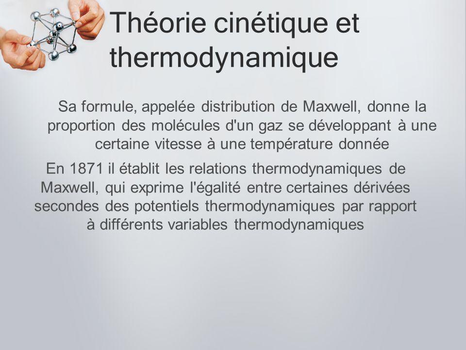 Théorie cinétique et thermodynamique Sa formule, appelée distribution de Maxwell, donne la proportion des molécules d'un gaz se développant à une cert