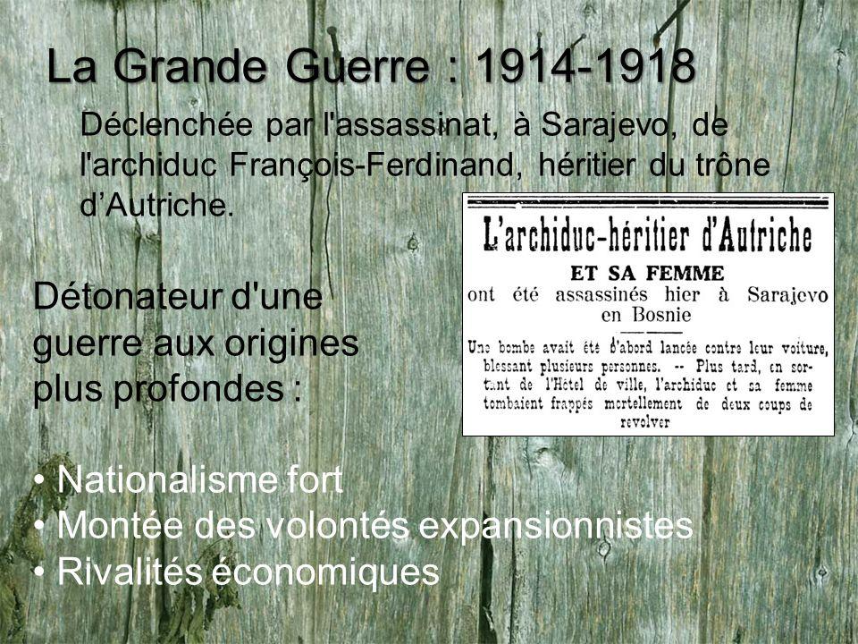 La Grande Guerre : 1914-1918 Déclenchée par l'assassinat, à Sarajevo, de l'archiduc François-Ferdinand, héritier du trône dAutriche. Détonateur d'une