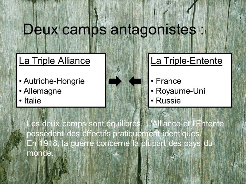 Deux camps antagonistes : La Triple Alliance Autriche-Hongrie Allemagne Italie La Triple-Entente France Royaume-Uni Russie Les deux camps sont équilibrés.