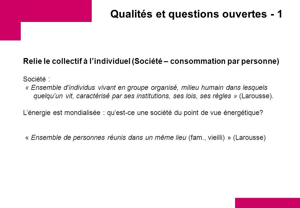 Qualités et questions ouvertes - 1 Relie le collectif à lindividuel (Société – consommation par personne) Société : « Ensemble dindividus vivant en gr