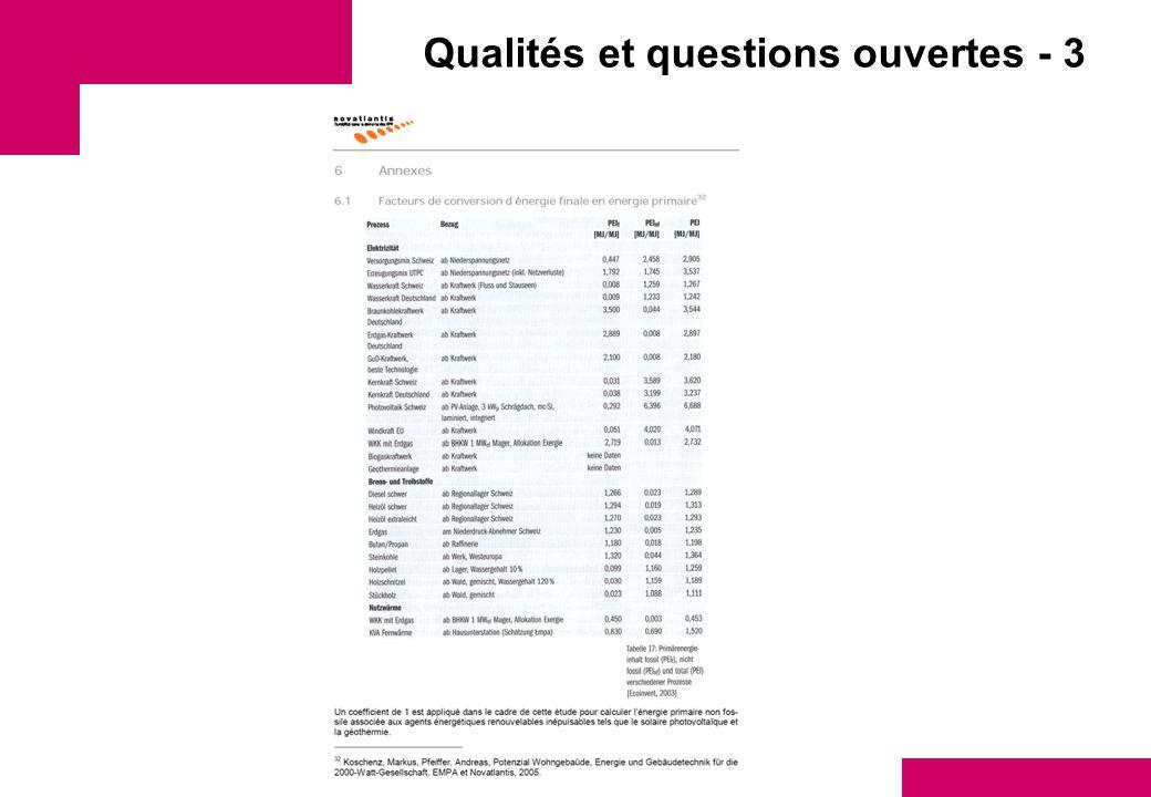 Qualités et questions ouvertes - 3