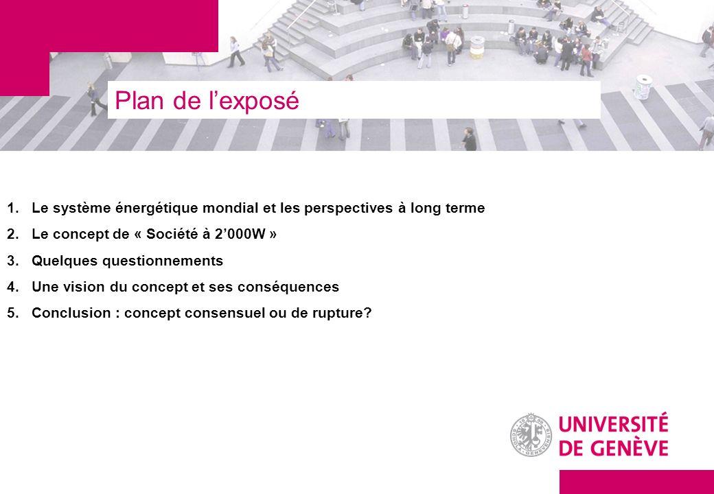 Plan de lexposé 1.Le système énergétique mondial et les perspectives à long terme 2.Le concept de « Société à 2000W » 3.Quelques questionnements 4.Une