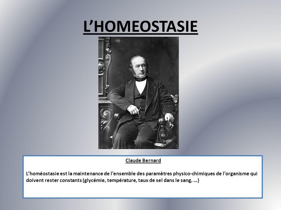 LHOMEOSTASIE Claude Bernard Lhoméostasie est la maintenance de lensemble des paramètres physico-chimiques de lorganisme qui doivent rester constants (