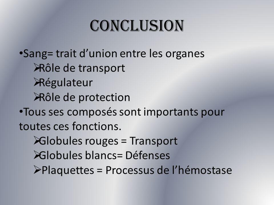 CONCLUSION Sang= trait dunion entre les organes Rôle de transport Régulateur Rôle de protection Tous ses composés sont importants pour toutes ces fonc