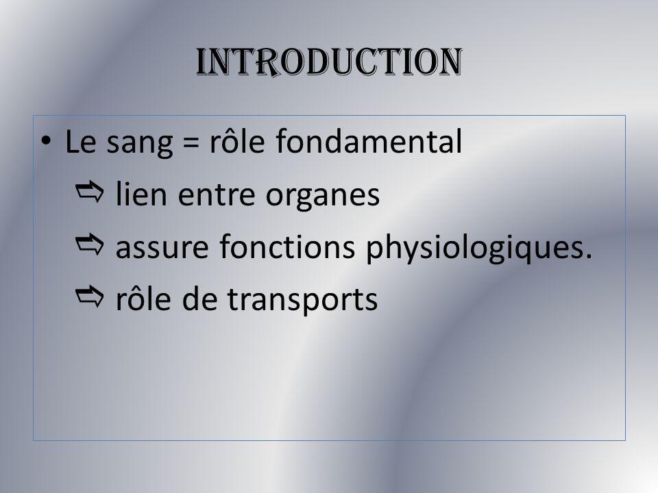 INTRODUCTION Le sang = rôle fondamental lien entre organes assure fonctions physiologiques. rôle de transports