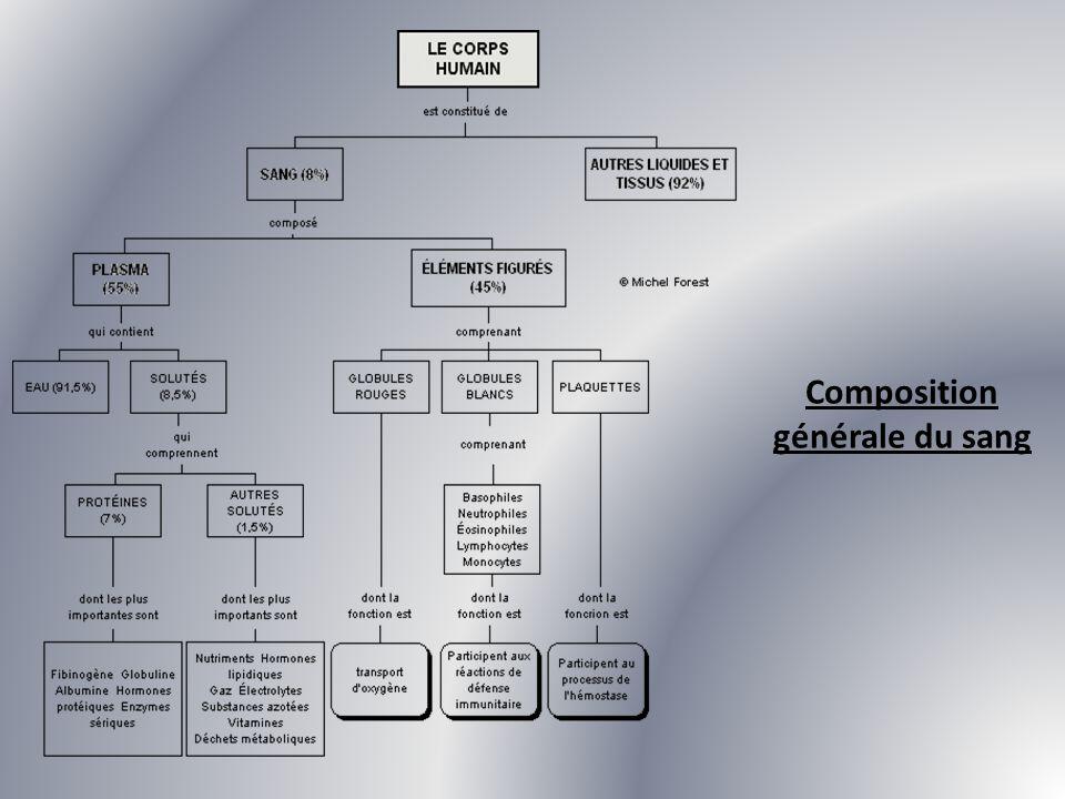 Composition générale du sang