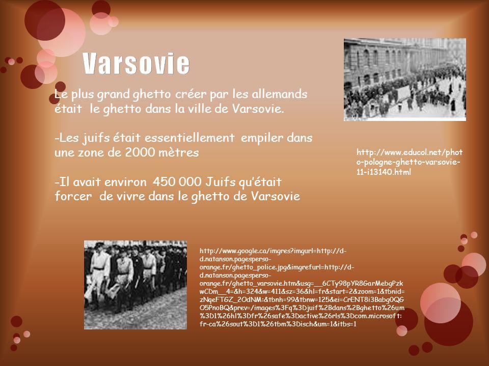 Le plus grand ghetto créer par les allemands était le ghetto dans la ville de Varsovie. -Les juifs était essentiellement empiler dans une zone de 2000