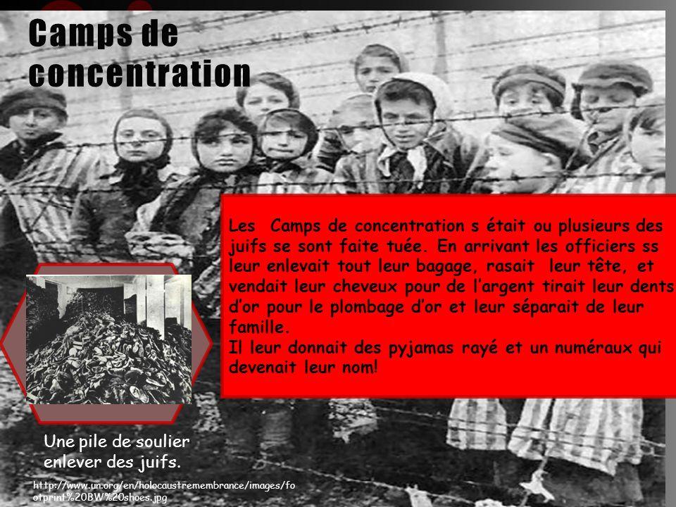Les Camps de concentration s était ou plusieurs des juifs se sont faite tuée. En arrivant les officiers ss leur enlevait tout leur bagage, rasait leur