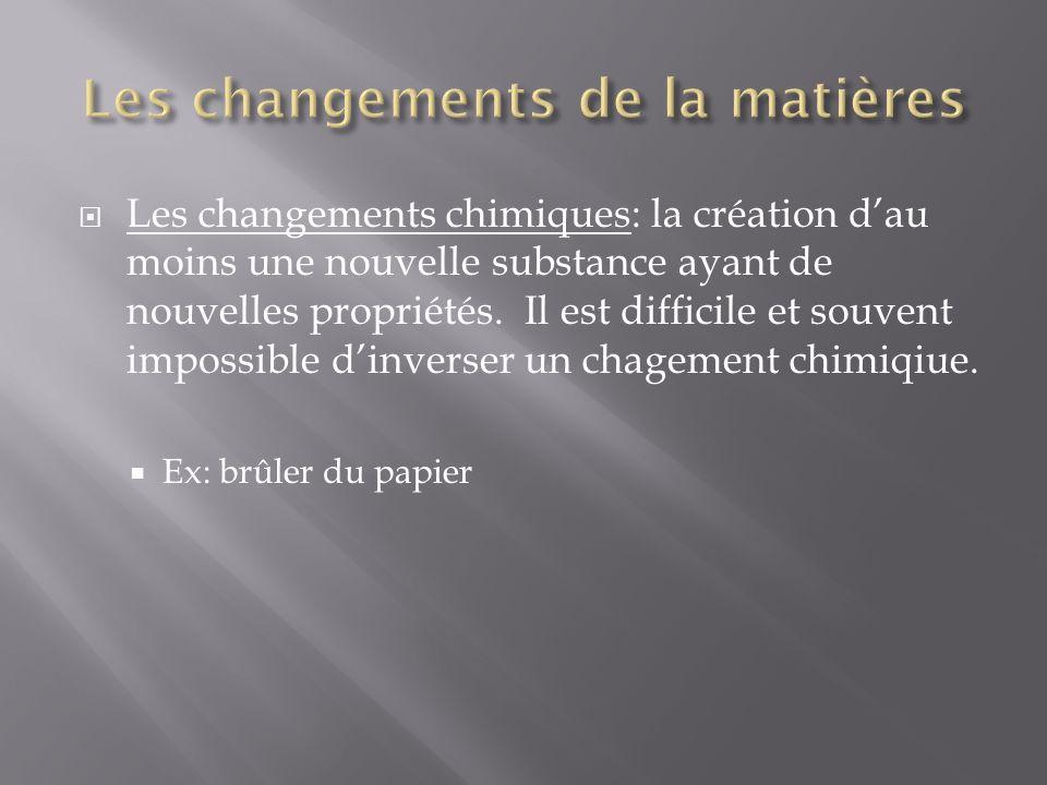 Les changements chimiques: la création dau moins une nouvelle substance ayant de nouvelles propriétés. Il est difficile et souvent impossible dinverse