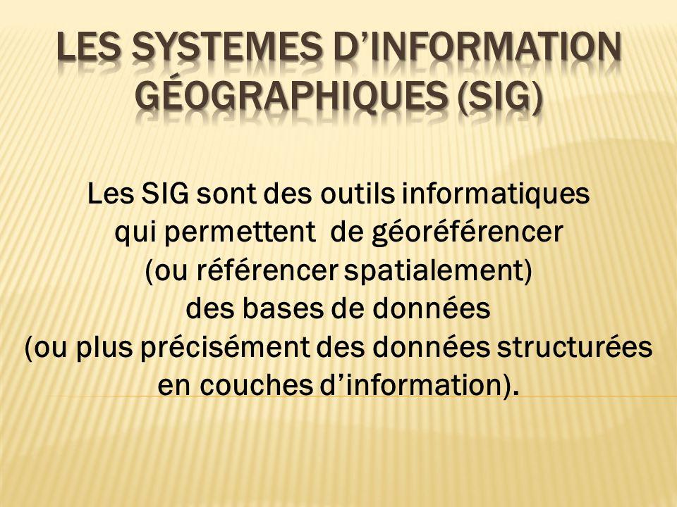 Les SIG sont des outils informatiques qui permettent de géoréférencer (ou référencer spatialement) des bases de données (ou plus précisément des donné