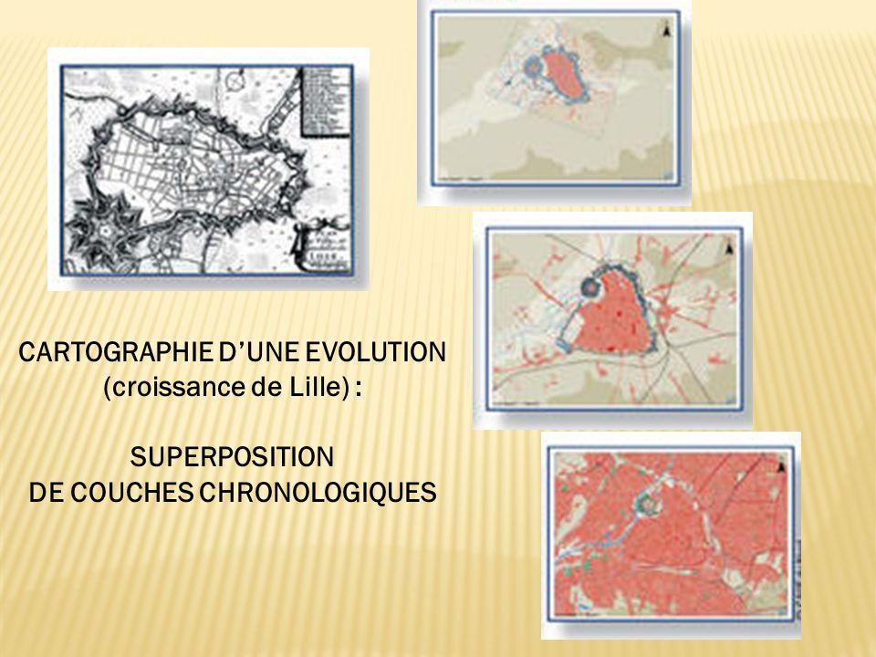 CARTOGRAPHIE DUNE EVOLUTION (croissance de Lille) : SUPERPOSITION DE COUCHES CHRONOLOGIQUES