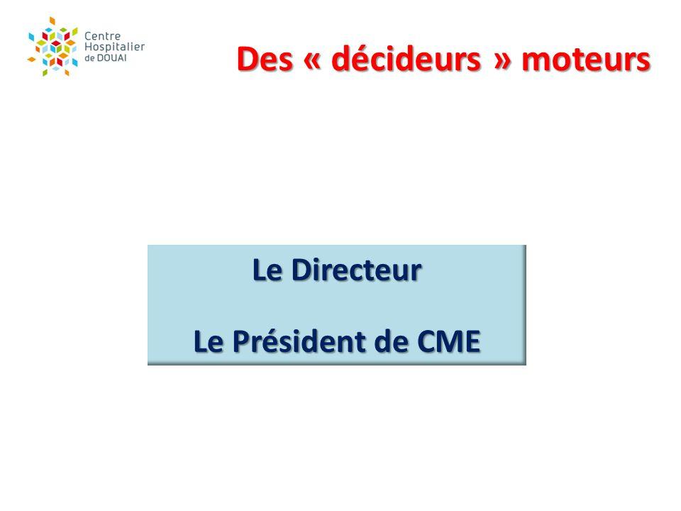 Des « décideurs » moteurs Le Directeur Le Président de CME