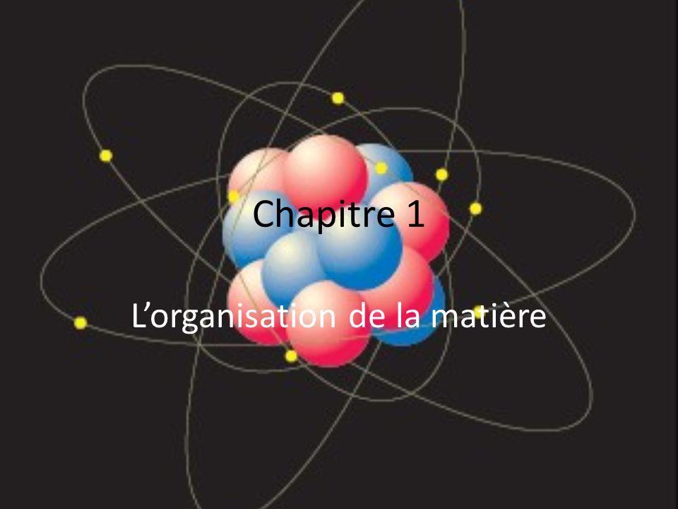 Chapitre 1 Lorganisation de la matière