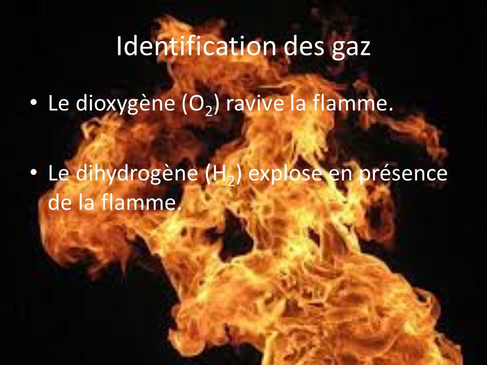 Identification des gaz Le dioxygène (O 2 ) ravive la flamme. Le dihydrogène (H 2 ) explose en présence de la flamme.
