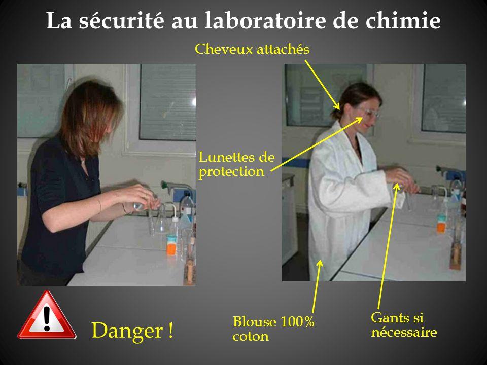 La sécurité au laboratoire de chimie Danger .
