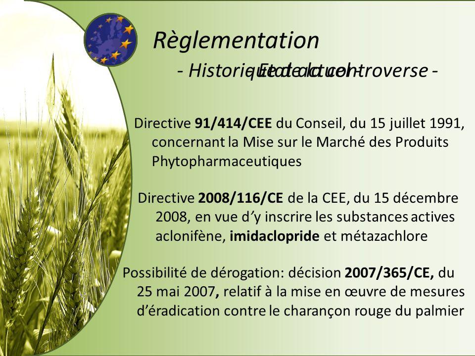 - Historique de la controverse -- Etat actuel - Règlementation Directive 91/414/CEE du Conseil, du 15 juillet 1991, concernant la Mise sur le Marché d