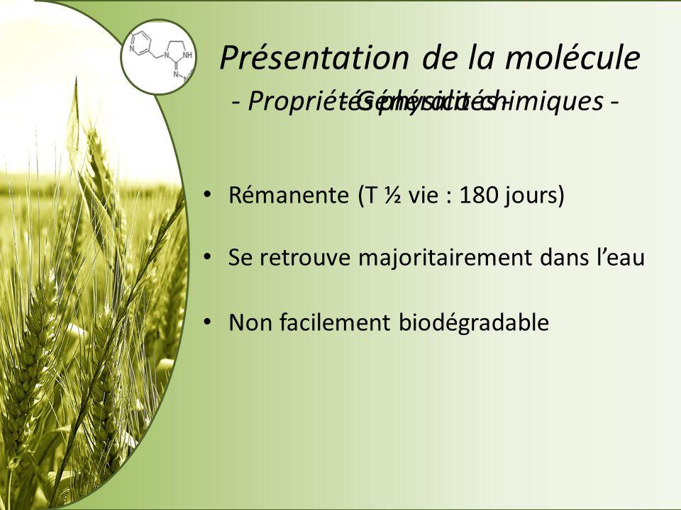 - Propriétés physico-chimiques -- Mode daction principal - Présentation de la molécule Contre ravageurs du sol et ravageurs aériens Daia et al., (2010) Se propage dans la plante grâce au xylème Perturbateur des synapses cholinergiques Métabolites