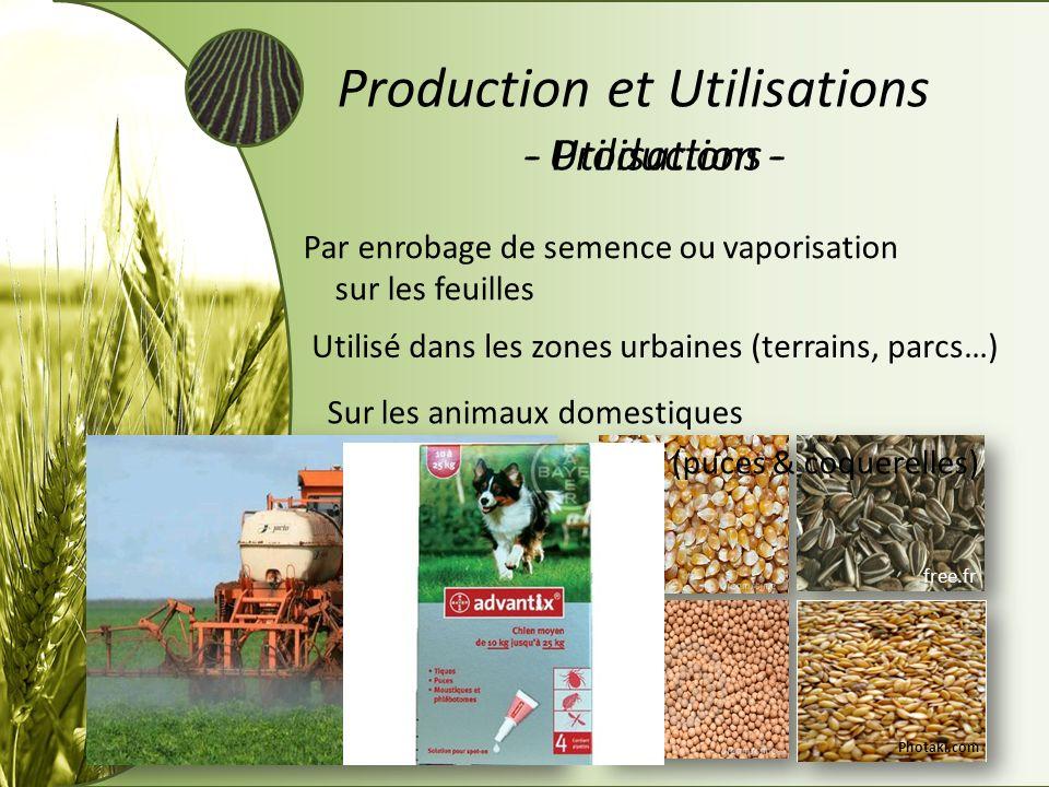 - Production -- Utilisations - Production et Utilisations Par enrobage de semence ou vaporisation sur les feuilles Utilisé dans les zones urbaines (te