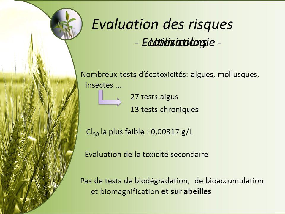 - Utilisations -- Ecotoxicologie - Evaluation des risques Nombreux tests décotoxicités: algues, mollusques, insectes … 27 tests aigus 13 tests chroniq