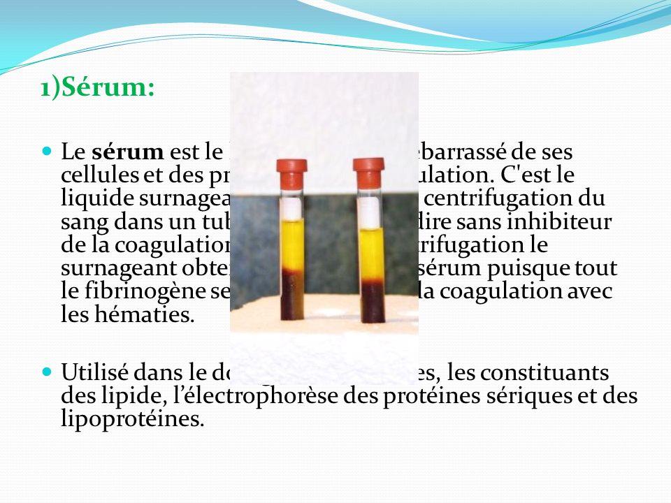 1)Sérum: Le sérum est le liquide sanguin débarrassé de ses cellules et des protéines de la coagulation. C'est le liquide surnageant obtenu après la ce