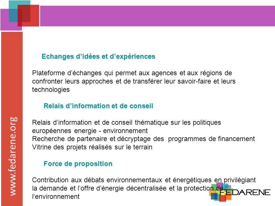www.fedarene.org Expert pour le rapport du Comité des Régions sur la proposition de Directive sur lEfficacité Energétique >>consultation des membres et travail sur le rôle des régions dans la mise en œuvre de cette directive >> promouvoir le niveau regional et veiller à ce que la directive aille dans le sens des politiques mises en œuvre Futur du programme Energie Intelligente pour lEurope.