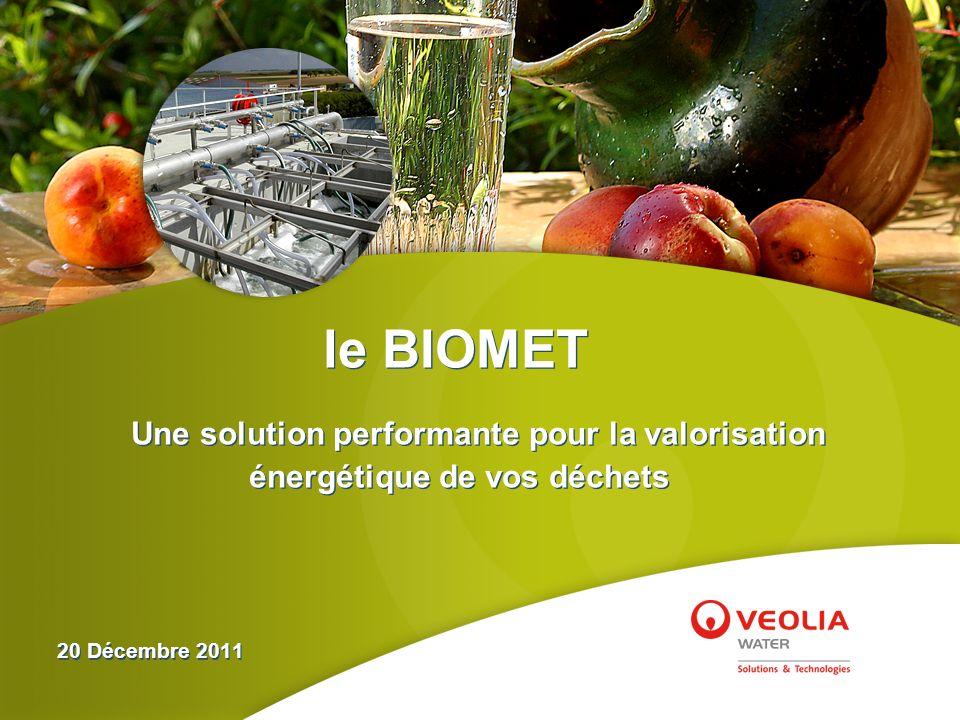le BIOMET Une solution performante pour la valorisation énergétique de vos déchets 20 Décembre 2011 le BIOMET Une solution performante pour la valoris