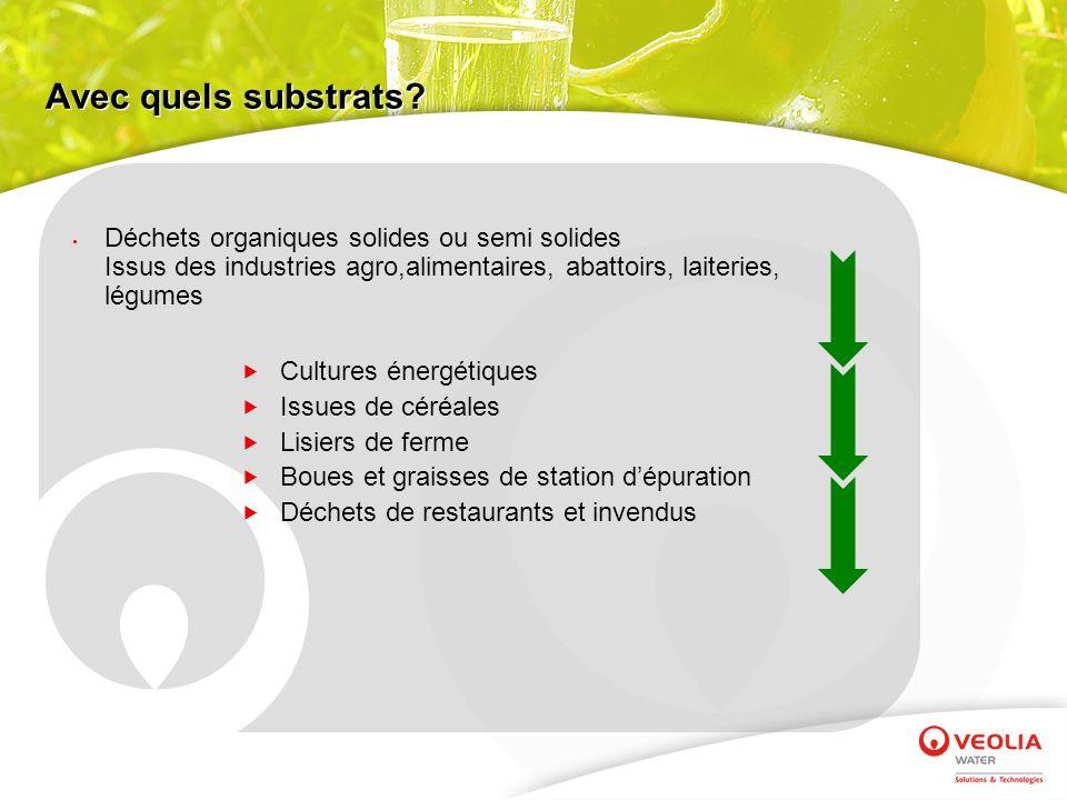 Avec quels substrats? Cultures énergétiques Issues de céréales Lisiers de ferme Boues et graisses de station dépuration Déchets de restaurants et inve