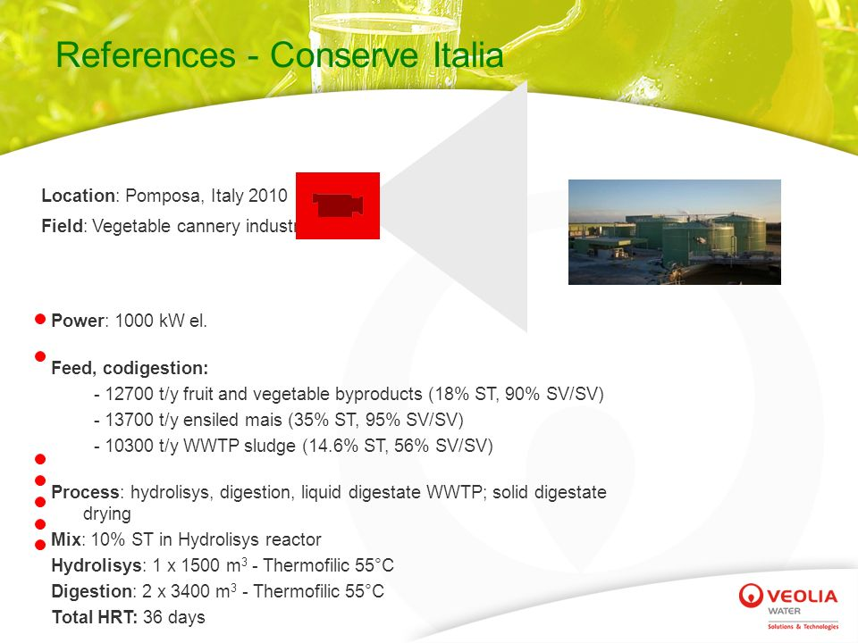 References - Conserve Italia Location: Pomposa, Italy 2010 Field: Vegetable cannery industry Power: 1000 kW el.