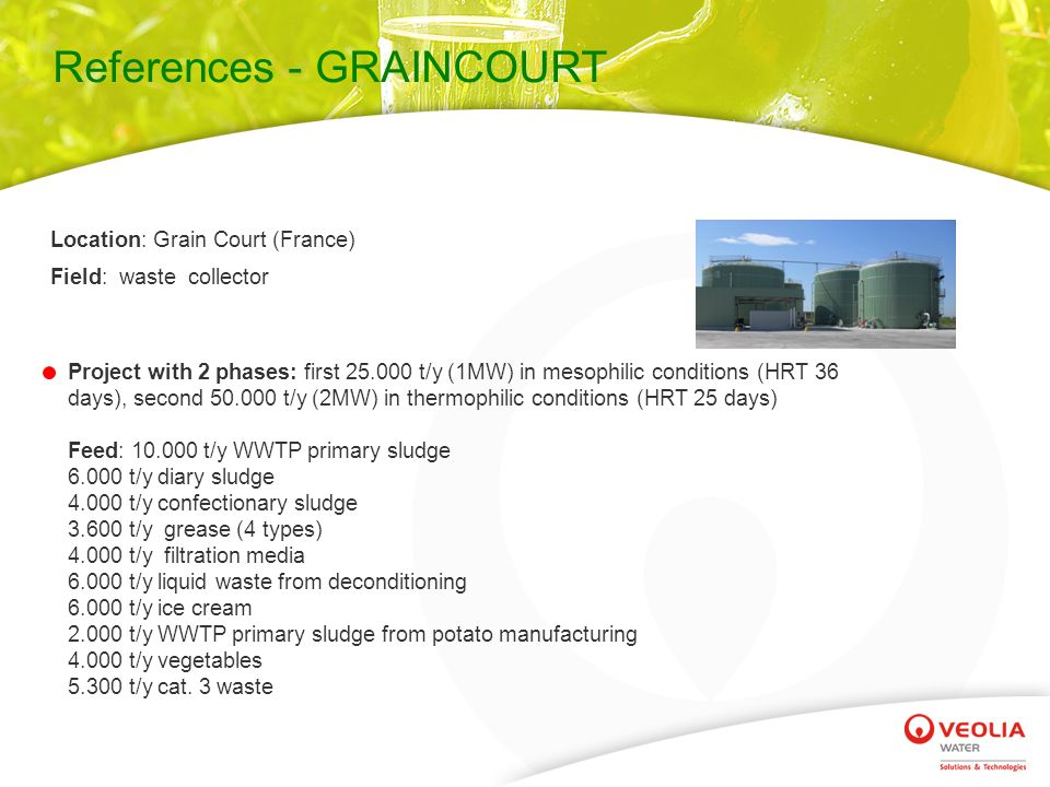 References - GRAINCOURT Location: Grain Court (France) Field: waste collector Project with 2 phases: first 25.000 t/y (1MW) in mesophilic conditions (HRT 36 days), second 50.000 t/y (2MW) in thermophilic conditions (HRT 25 days) Feed: 10.000 t/y WWTP primary sludge 6.000 t/y diary sludge 4.000 t/y confectionary sludge 3.600 t/y grease (4 types) 4.000 t/y filtration media 6.000 t/y liquid waste from deconditioning 6.000 t/y ice cream 2.000 t/y WWTP primary sludge from potato manufacturing 4.000 t/y vegetables 5.300 t/y cat.