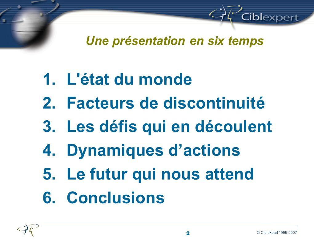 2 © Ciblexpert 1999-2007 Une présentation en six temps 1.L état du monde 2.Facteurs de discontinuité 3.Les défis qui en découlent 4.Dynamiques dactions 5.Le futur qui nous attend 6.Conclusions