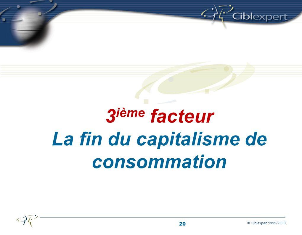 20 © Ciblexpert 1999-2008 3 ième facteur La fin du capitalisme de consommation