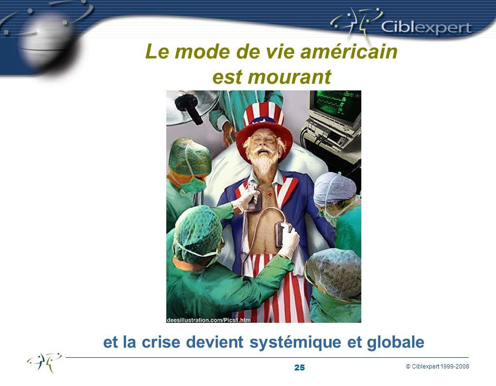 25 © Ciblexpert 1999-2008 Le mode de vie américain est mourant et la crise devient systémique et globale