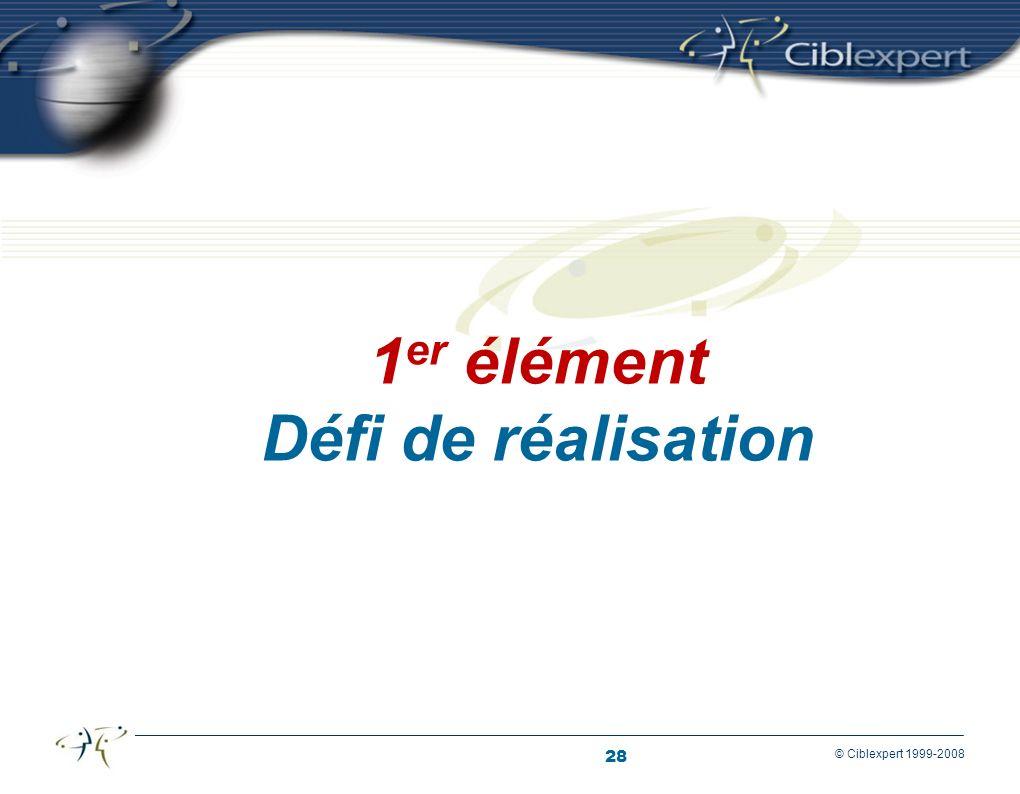 28 © Ciblexpert 1999-2008 1 er élément Défi de réalisation