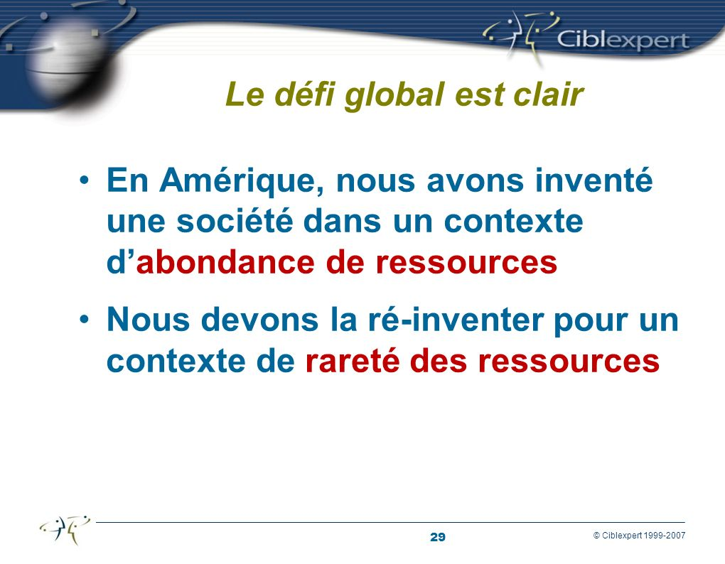 29 © Ciblexpert 1999-2007 Le défi global est clair En Amérique, nous avons inventé une société dans un contexte dabondance de ressources Nous devons la ré-inventer pour un contexte de rareté des ressources