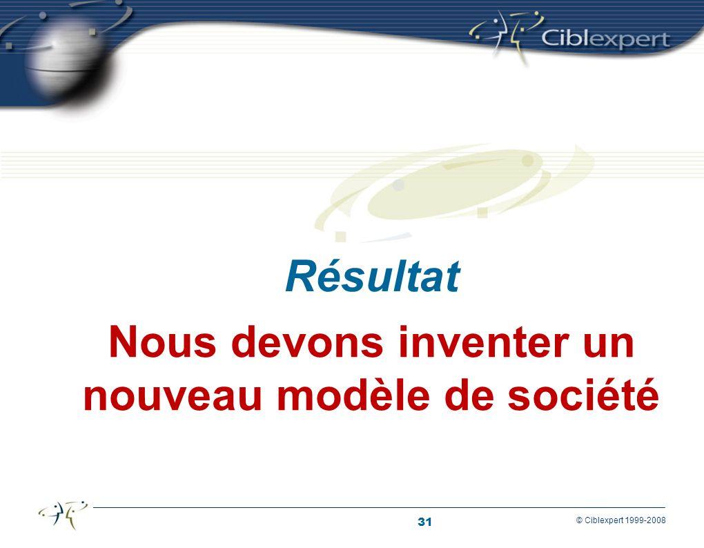 31 © Ciblexpert 1999-2008 Nous devons inventer un nouveau modèle de société Résultat