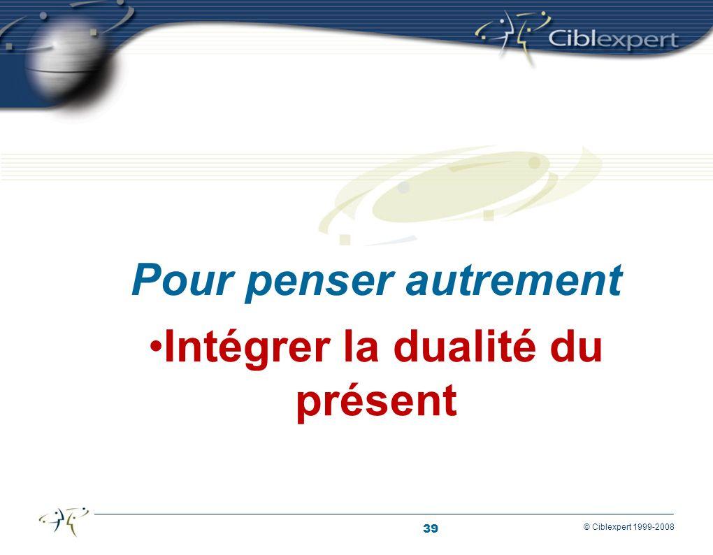 39 © Ciblexpert 1999-2008 Intégrer la dualité du présent Pour penser autrement