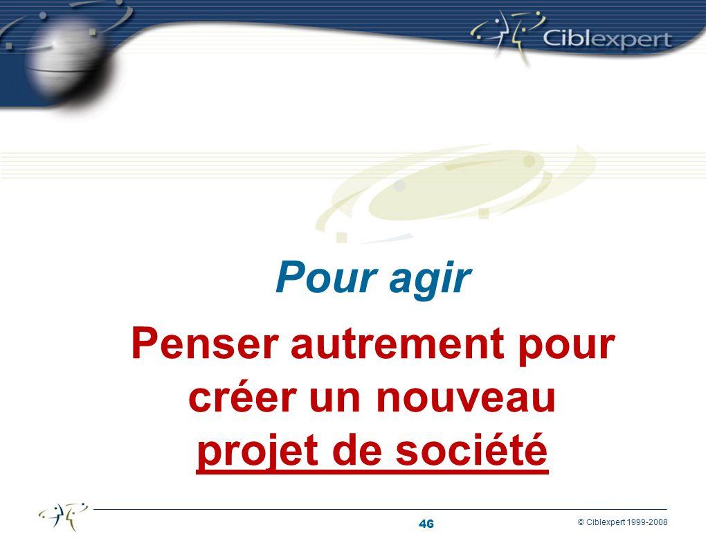 46 © Ciblexpert 1999-2008 Penser autrement pour créer un nouveau projet de société Pour agir