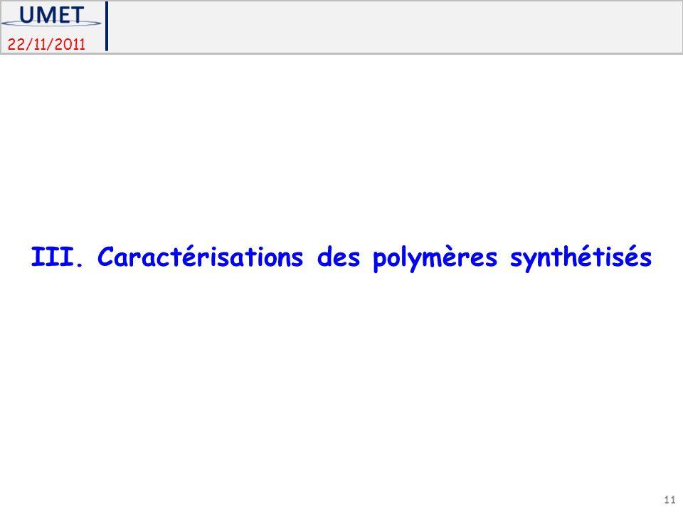 22/11/2011 III. Caractérisations des polymères synthétisés 11